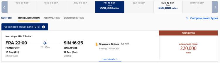 Singapore Airlines Frankfurt Singapur Vaccinated Traveller Lane Praemienflug