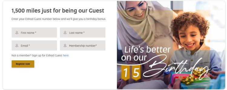 Etihad Guest Gratis Meilen Birthday Celebration