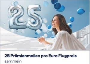 25 praemienmeilen pro euro flugbuchung aktion september 2018 titelbild