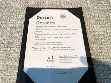 air canada signature suite toronto dessert