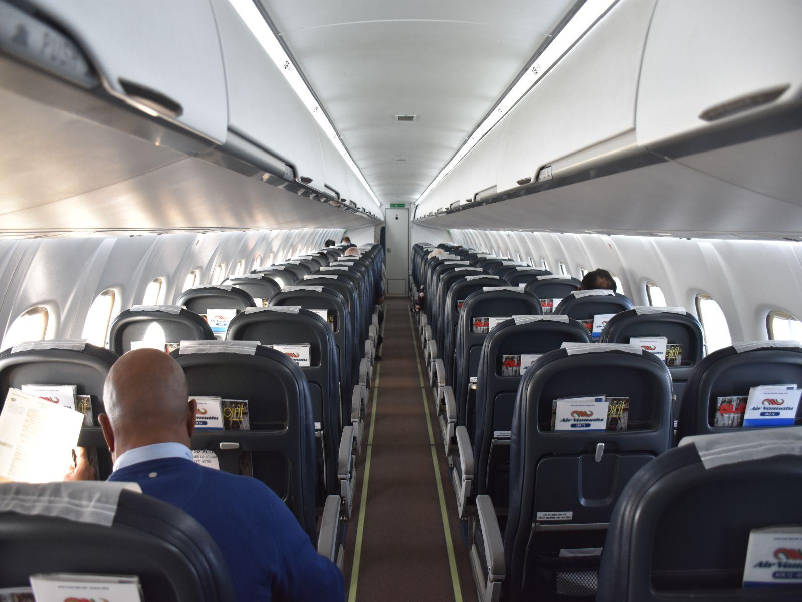 Sitze in einer ATR72 der Air Vanuatu