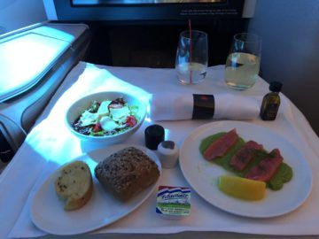 air canada business class boeing 787 9 smoked salmon vorspeise