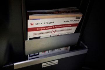 aircanada business class boeing 777 staufach zeitschriften