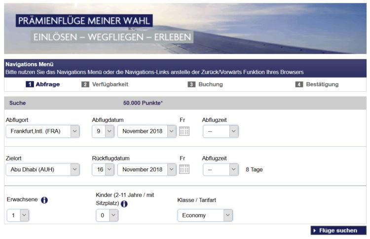 Membership Rewards Prämienflüge Buchungsmaske
