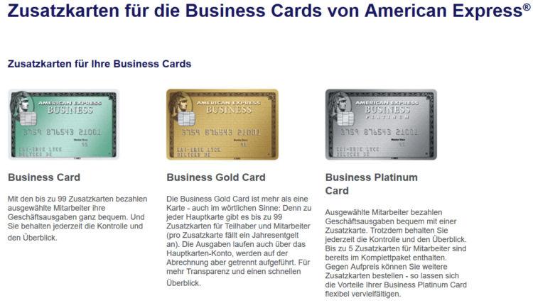 American Express Zusatzkarten für Business Cards