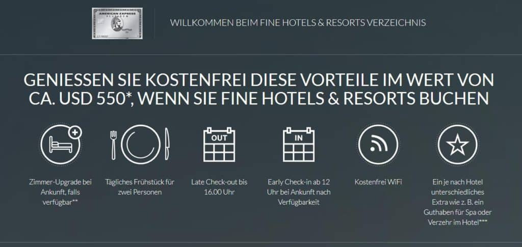 american express platinum vorteile fine hotels and resorts