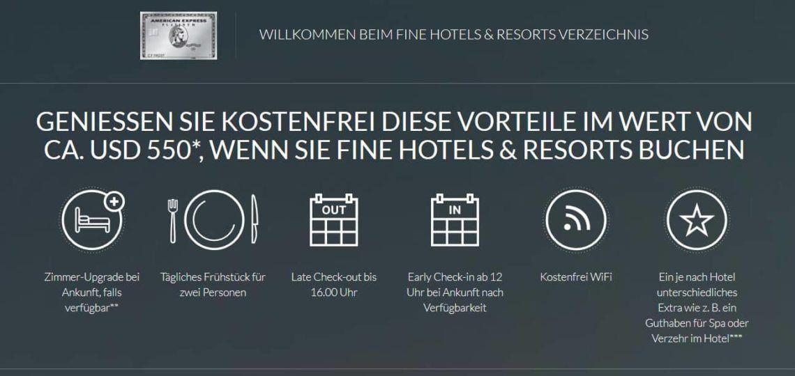 american express platinum vorteile fine hotels and resorts