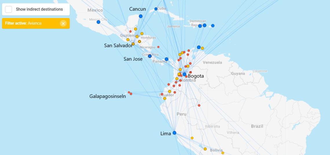 Avianca-Streckennetz mit Fokus auf Mittel- und das nördliche Südamerika