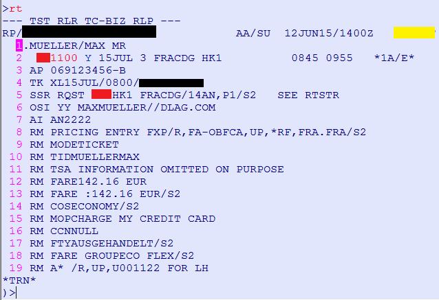 Beispiel eines PNR in der Amadeus Selling Platform