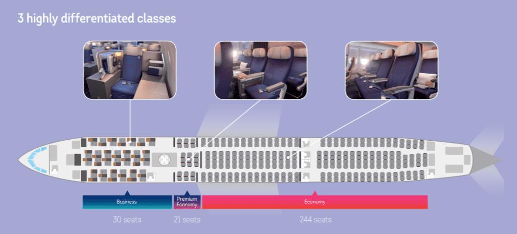Sitzplan der neuen Brussels Airlines Kabine im Airbus A330