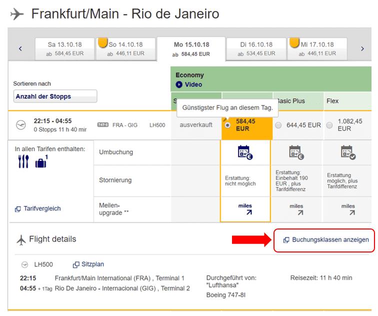 Buchungsseite Lufthansa Beispiel Frankfurt nach Rio de Janeiro