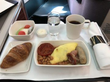 cathay pacific business class a330 fruehstueck