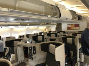 cathay pacific business class a330 kabine voderansicht