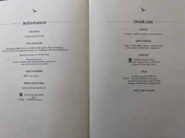 cathay pacific business class a350 1000 drink list