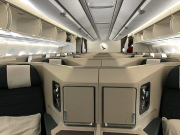 cathay pacific business class a350 1000 kabine vorne