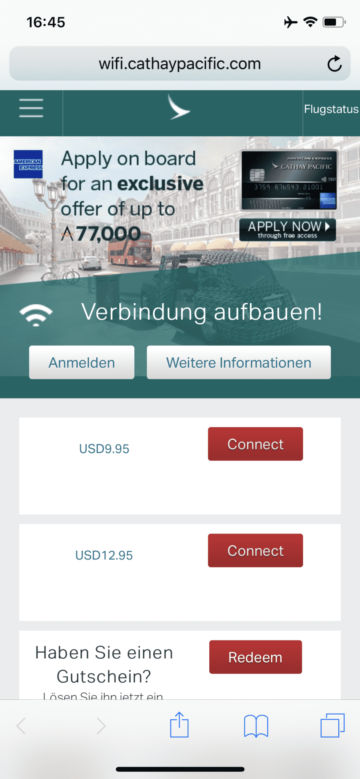 cathay pacific business class a350 1000 wifi kosten