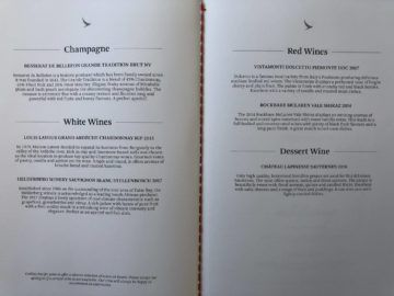 Cathay Pacific Business Class A350-1000 Wein und Champagner