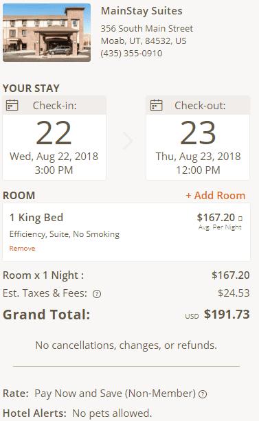 Eine Nacht in den MainStay Suites in Moab, Utah, kostet im August etwas weniger als 200 USD