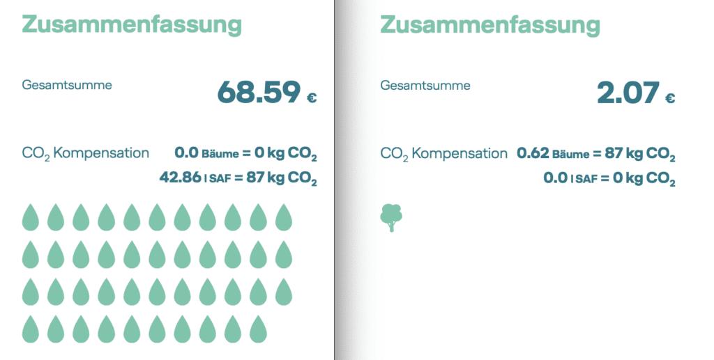 Vergleich CO2-Kompensation über synthetischen Kraftstoff vs. Aufforstung © Lufthansa