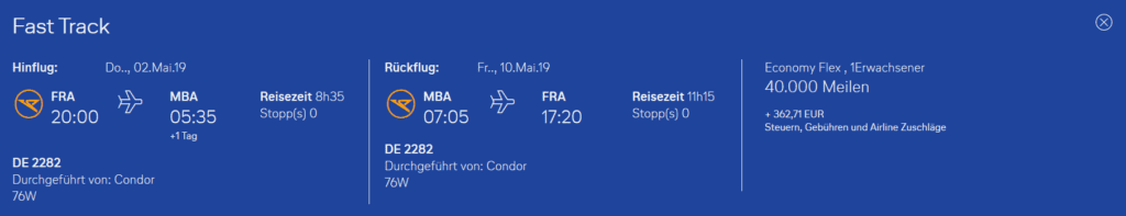 Condor Flugwochen Frankfurt Mombasa