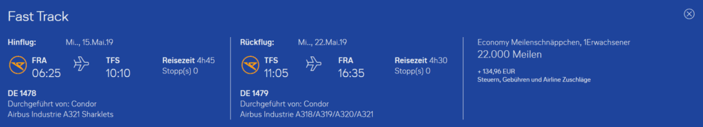 Condor Flugwochen Frankfurt Teneriffa