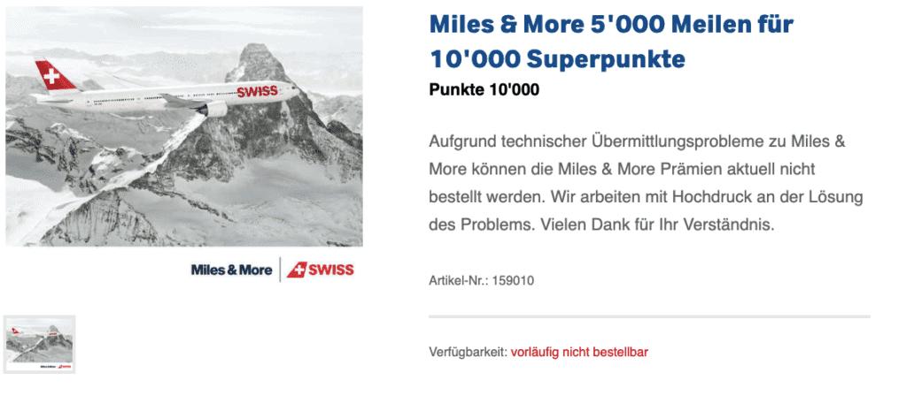 Ein Punktetausch von Superpunkten zu Miles & More ist ebenfalls nicht möglich