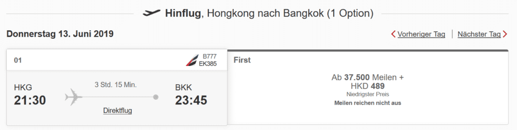 emirates skwards meilen einloesen bangkok hongkong first class