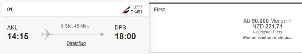 Emirates First Class von Auckland nach Bali