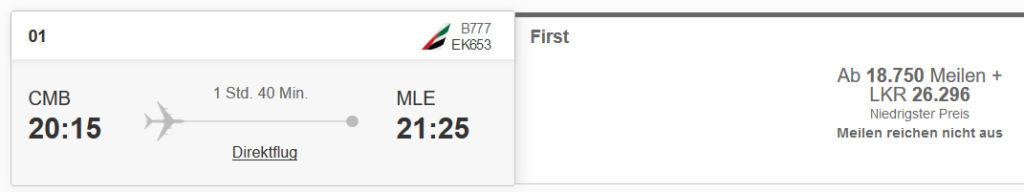 Emirates First Class von Sri Lanka auf die Malediven