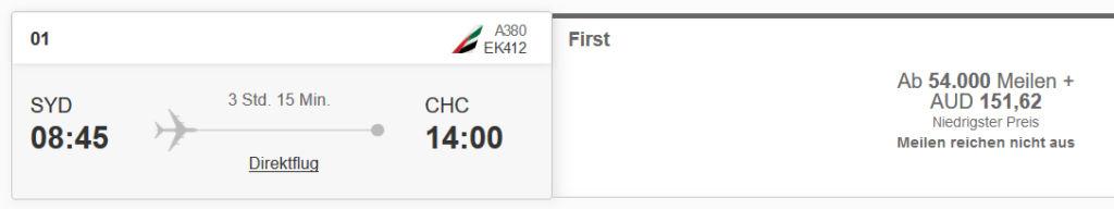 Emirates First Class von Sydney nach Christchurch