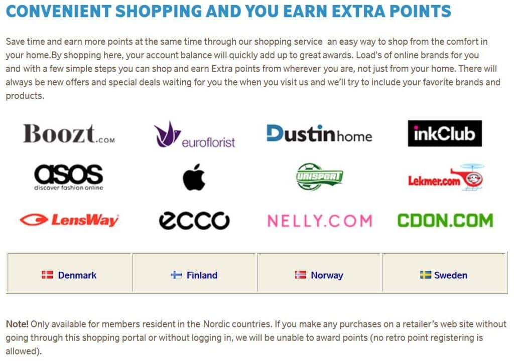EuroBonus Online-Shopping Partner