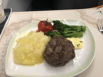 eva air business class a330 300 beef steack