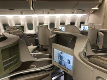 EVA Air Business Class Boeing 777-300 Sitze auf dem Rueckflug