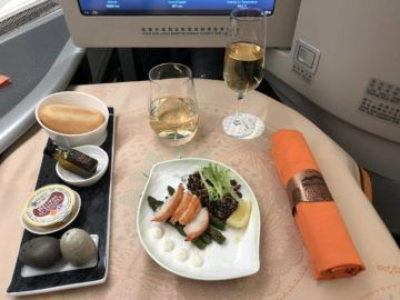 EVA Air Business Class Boeing 777-300 Lobster Vorspeise
