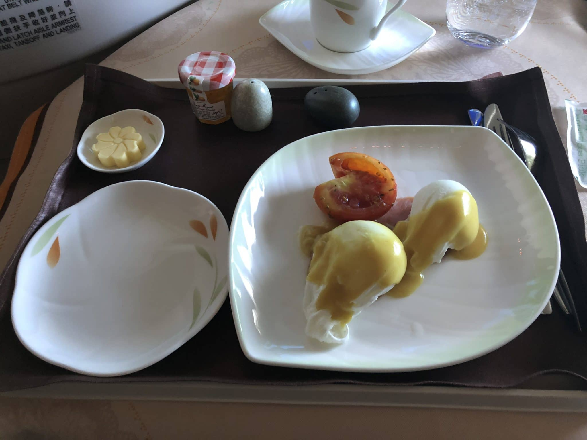 EVA Air Business Class Boeing 777-300 Poached Eggs