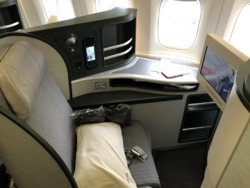EVA Air Business Class Boeing 777-300 Sitz Hinflug