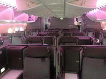 eva air neue business class boeing 787 9 kabine von vorne