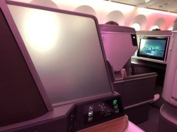 EVA Air neue Business Class 787-9 Sichtschutz am Gang
