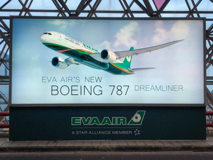 EVA Air neue Business Class 787-9 Werbeplakat