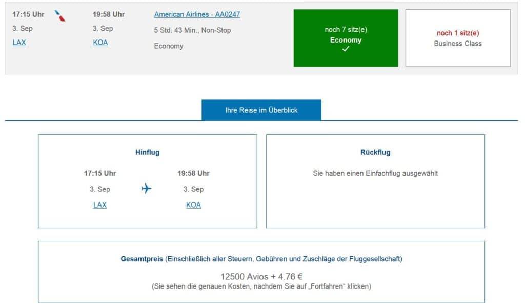 executive club praemienflug america airlines los angeles kona