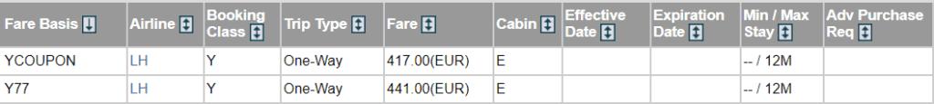 fare basis codes uebersicht lufthansa frankfurt berlin coupon