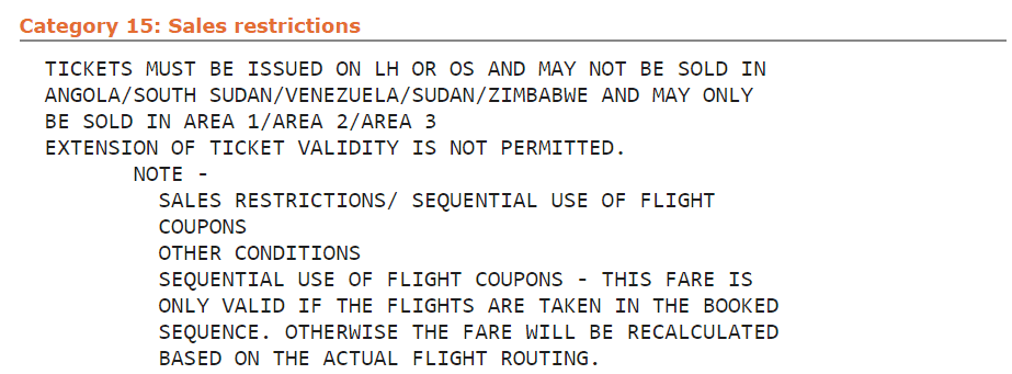 fare rules kategorie 15 sales restrictions beispiel lufthansa klasse k sjo