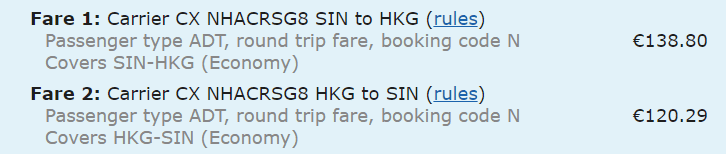 fare rules kategorie 3 beispiel cathay pacific klasse n fare basis high season