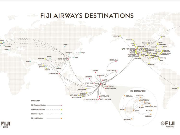 Fiji Airways Streckennetz