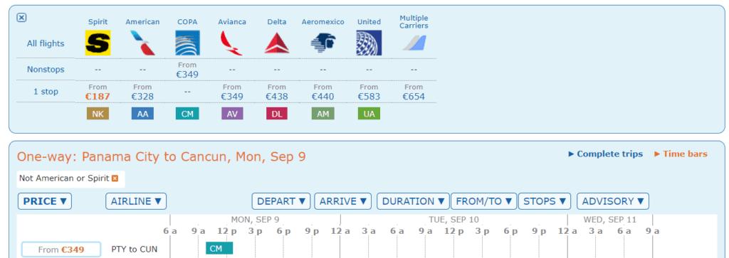 Flugpreise von Panama-City nach Cancun mit Copa, Aeromexico und Avianca