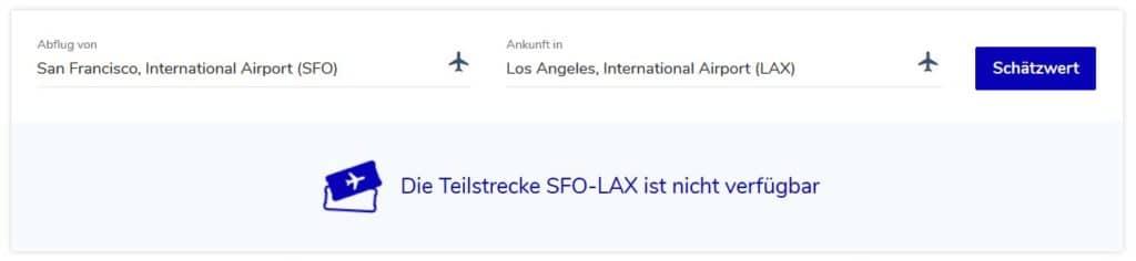 Der Flying Blue Meilenrechner kennt nur Strecken, die von Air France oder KLM bedient werden