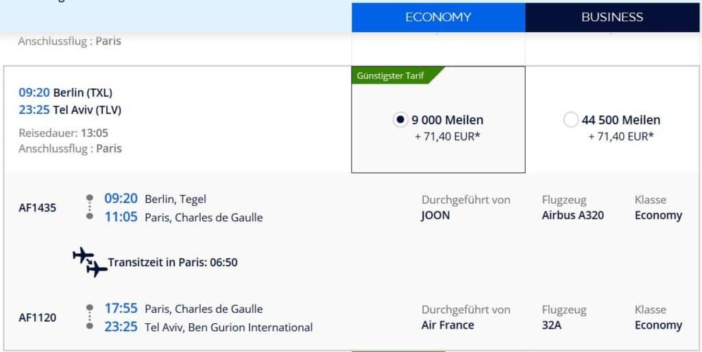 Flying Blue Prämienflug: Mit Joon und Air France von Berlin nach Tel Aviv