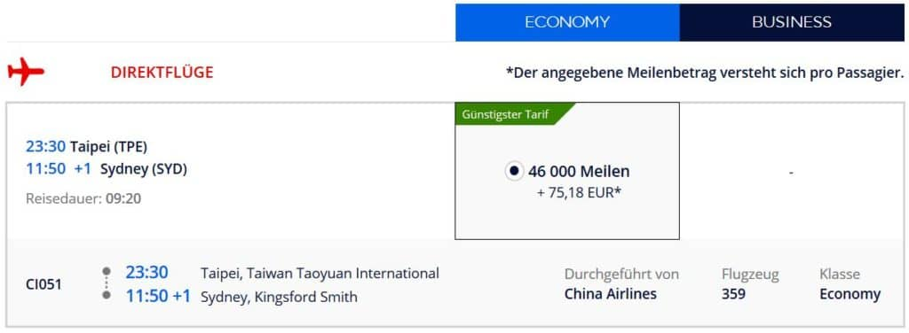 flying blue praemienflug china airlines taipeh sydney