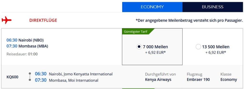 flying blue praemienflug kenya airways nairobi mombasa