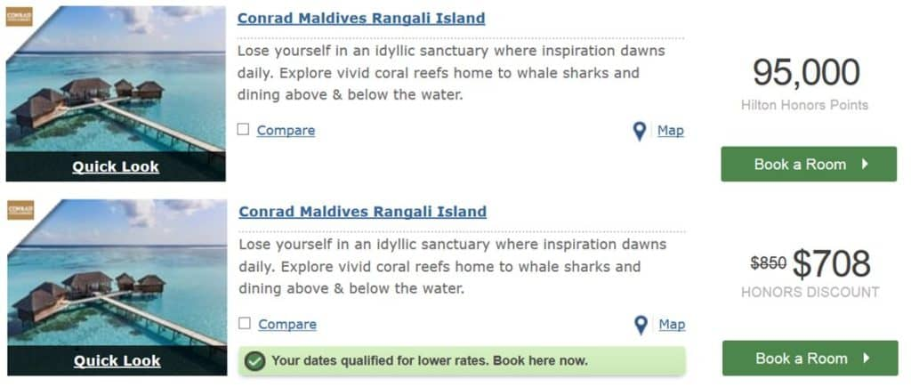 hilton honors punkte einloesen conrad maldives